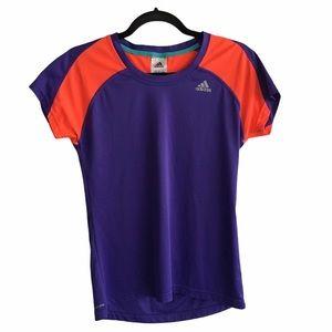 ADIDAS Crew Neck T-Shirt Purple / Orange S